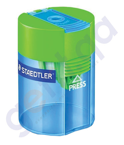 BUY STAEDTLER SINGLE HOLE TUB TRANS SHARPNER BOX=10 - ST-511-006 IN QATAR