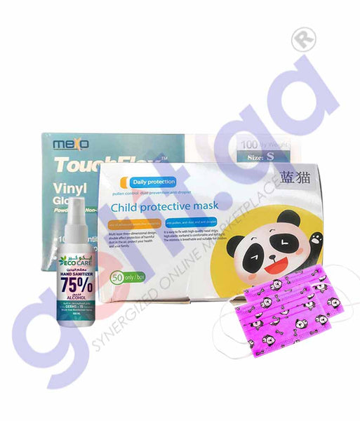 KIDS FACE MASK 50 PIECES + KIDS GLOVE 100 PIECES + ECO CARE SANITIZER 100ML