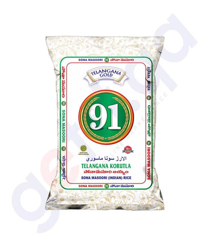 Buy 91 Telangana Gold Sona Masoori Rice 18kg in Doha Qatar