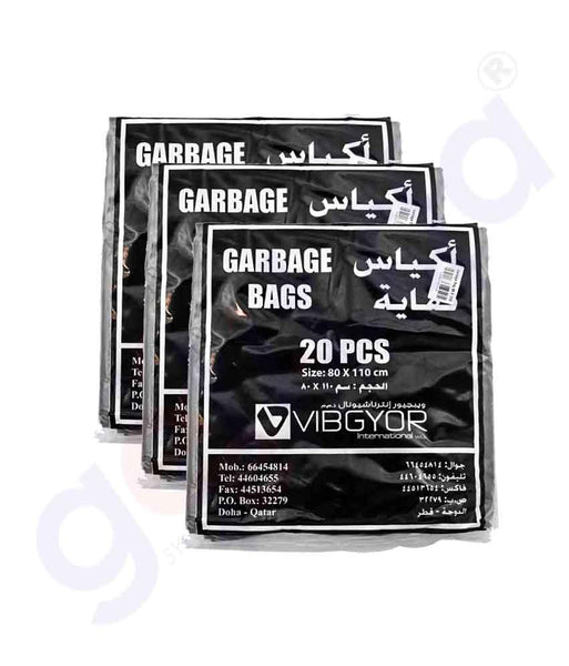 Buy Vibgyor Garbage Bag 80x110cm-50 Gallon-20pcs Doha Qatar