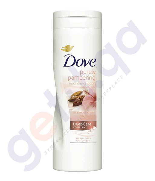 DOVE 400ML PURELY PAMPERING W/ ALMOND CREAM BODY LOTION