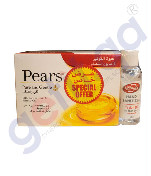 PEARS SOAP 4X125ML +LFEBUOY SANITIZER 50 ML FREE