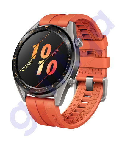 Buy Huawei Watch GT Orange Strap Active Titanium Grey Online Doha Qatar