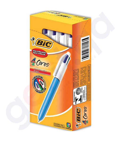 BUY BIC 4 COLOR PEN MEDIUM BOX OF 12 PIECES ONLINE IN DOHA QATAR