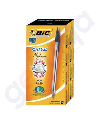 BUY BIC CRISTAL MEDIUM BLACK 50 BOX ONLINE IN DOHA QATAR