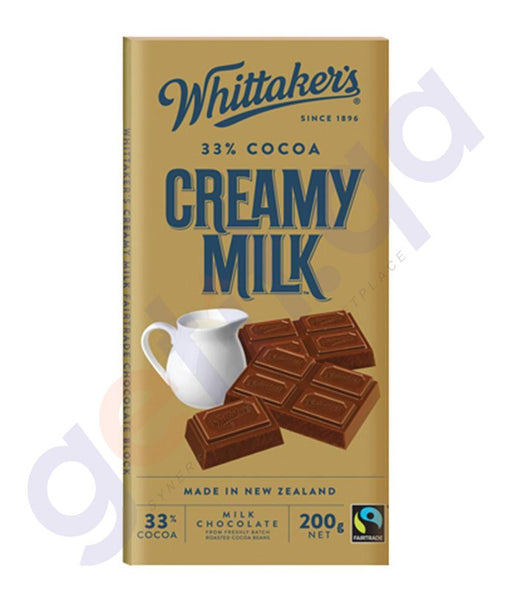BUY WHITTAKERS-CHOCOLATE CREAMY MILK BLOCK 200GM ONLINE IN DOHA QATAR