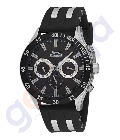 Slazenger Gents Multi Stainless Steel Case Black Dial Black Rubber Strap -SL.9.6076.2.01