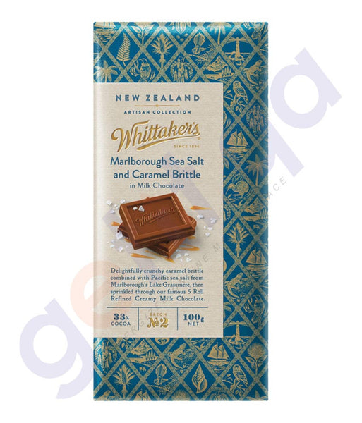BUY WHITTAKERS CHOCOLATE MARLBOROUGH SEA SALT & CARAMEL BRITTTLE BLOCK 100GM IN DOHA QATAR