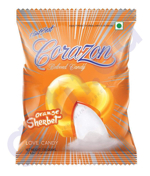 BUY BEST QUALITY HARTBEAT CANDY ORANGE SHERBET 150GM IN QATAR