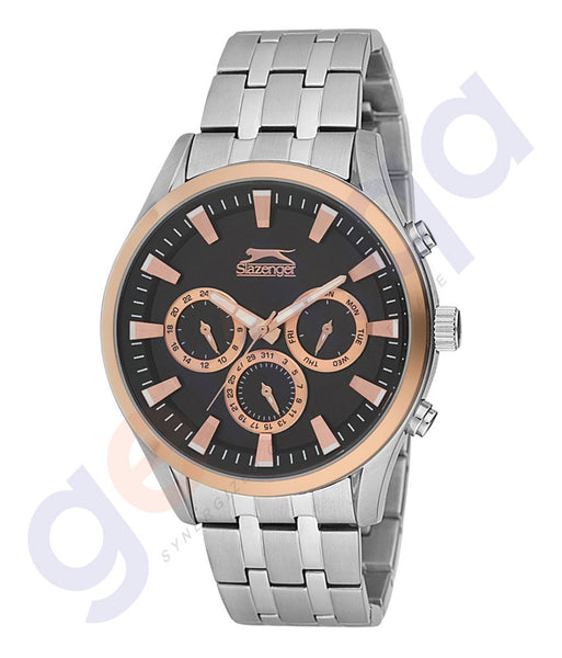 Slazenger Gents Multi Stainless Steel Rugged Case Black Dial Steel Bracelet - SL.9.6086.2.02