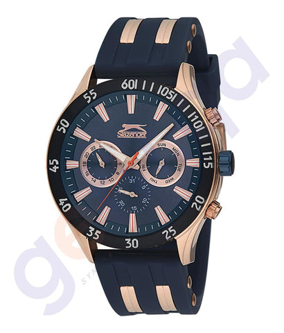 Slazenger Gents Multi Rugged Case Blue Dial Blue Rubber Strap - SL.9.6076.2.02