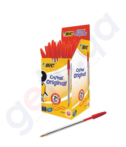 BUY BIC CRISTAL MEDIUM RED 50 PENS BOX ONLINE IN DOHA QATAR