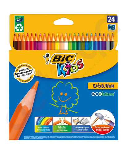 BUY BIC KIDS EVOLUTION 24 COLOUR PENCILS-WALLET POUCH IN DOHA QATAR