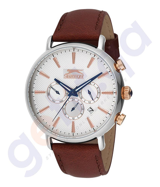 Slazenger Gents Multi Stainless Steel Case Silver Dial Dark-brown-Strap - SL.9.6081.2.02