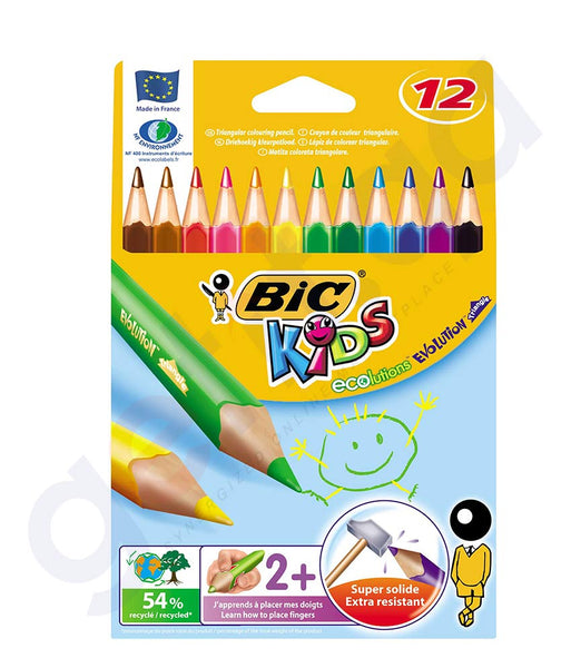 BUY BIC KIDS EVOLUTION TRIANGLE 12-COLOURS IN DOHA QATAR