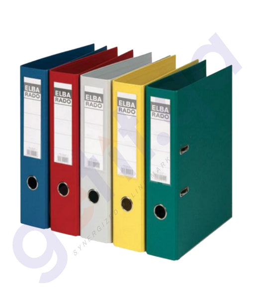 BUY ELBA LEVER ARCH FILE RADO PLAST,80MM -FS 1X20 BLACK, BLUE, RED, YELLOW IN DOHA QATAR