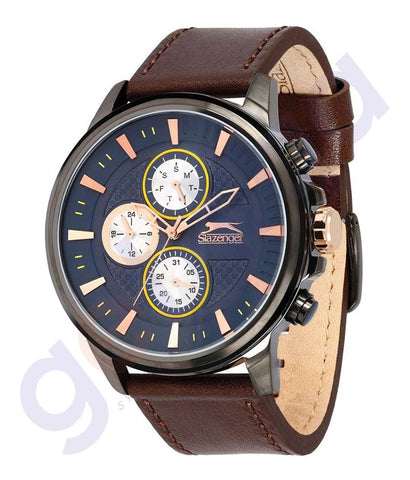 Slazenger Gents Multi Gun Case Dark Blue Dial Brown Leather -SL.9.6074.2.02 Doha Qatar