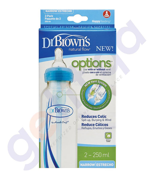BUY DR BROWN NARROW NECK OPTIONS BOTTLE-2 PACK- SB82006 8OZ/250ML IN QATAR