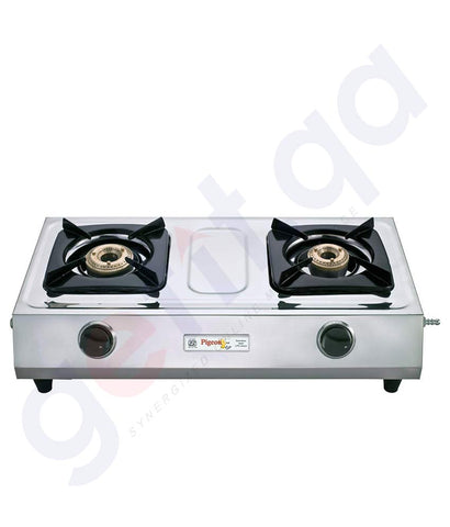 Buy Pigeon Double Burner Cute Stainless Steel Classic LPG gas Stove - 2 Burner in Qatar