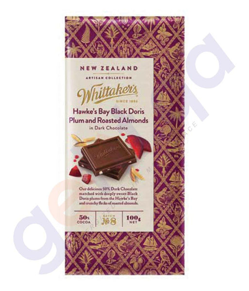 BUY WHITTAKERS - HAWKES BAY BLACK DORIS PLUM & ROASTED ALMONDS BLOCK 100GM IN DOHA QATAR
