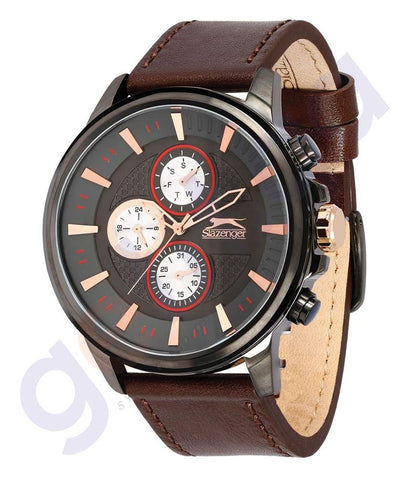 Slazenger Men's Multifunction Display Grey Dial Brown Leather Strap - SL.9.6074.2.01