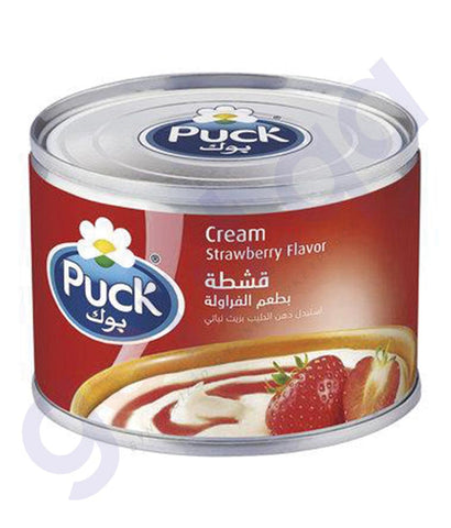 BUY BEST PRICED PUCK STERILIZED CREAM STRAWBERRY 170GM IN QATAR