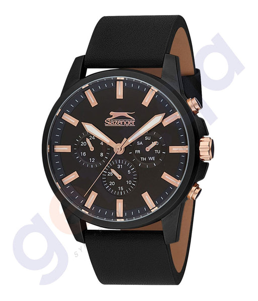 Slazenger Gents Multi Black Case Black Dial Black Leather - SL.9.6085.2.01