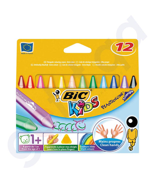 BUY BEST PRICED BIC WAX CRAYONS (TRIPLAST) 12 CRAYONS ONLINE IN DOHA QATAR