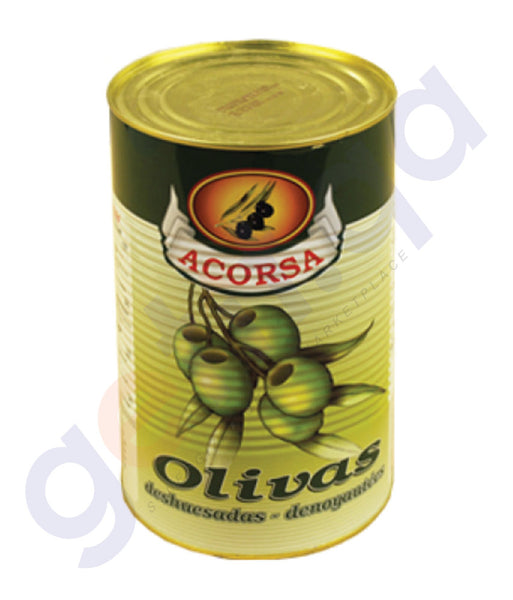 BUY BEST PRICED ACORSA OLIVES GREEN PLAIN TIN 225GM/ 5KG IN QATAR