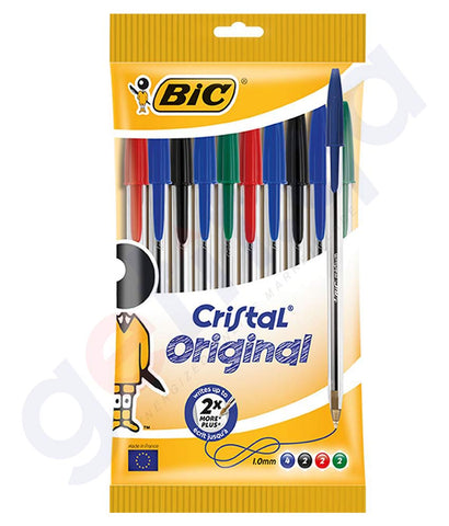 BUY BIC CRISTAL MEDIUM ASSORTED 10 PENS IN POUCH IN DOHA QATAR