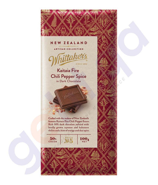 BUY WHITTAKERS-CHOCOLATE DARK KAITAIA FIRE CHILI PEPPER SPICE BLOCK 100GM IN DOHA QATAR