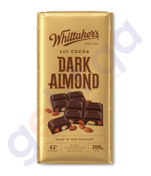 BUY WHITTAKERS-CHOCOLATE 62% DARK WITH ALMOND BLOCK 200GM IN DOHA QATAR