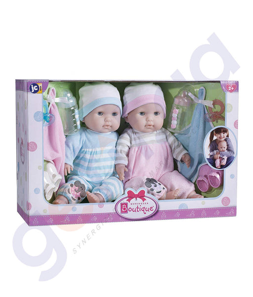 "BUY JC TOYS 15"" BERENGUER BOUTIQUE TWINS DELUXE GIFT SET- 30050 IN QATAR"