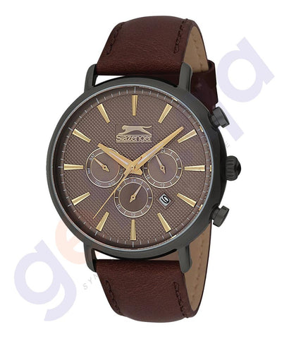 Slazenger Gents Multi Gun Case Grey Dial Dark brown Leather - SL.9.6081.2.03 Doha Qatar