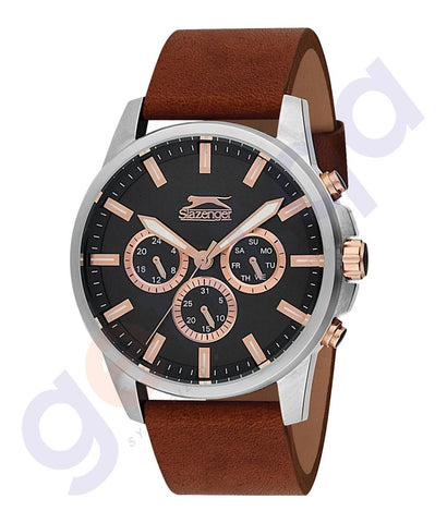 Slazenger Gents Multi Stainless Steel Case Gun Dial Brown Leather - SL.9.6085.2.02