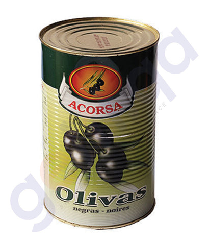 BUY BEST PRICED ACORSA OLIVES BLACK PLAIN TIN 225GM ONLINE IN QATAR