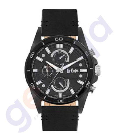 BUY LEE COOPER GENT'S MULTI FUNCTIONAL BLACK CASE BLACK LEATHER BLACK DIAL IN QATAR
