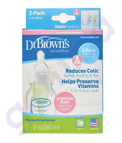 BUY DR BROWN 2OZ NATURAL FLOW BABY BOTTLE, 2-PACK IN QATAR
