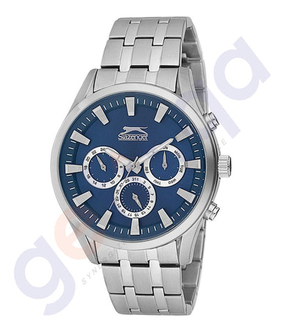 Slazenger Gents Multi Stainless Steel Case Blue-Dial Stainless Steel Bracelet - SL.9.6086.2.03