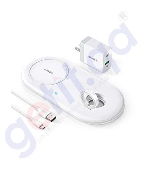 GETIT.QA | Buy Anker Power Wave Pad with Watch Holder White Doha Qatar