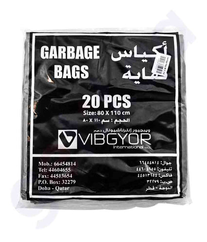 Buy Vibgyor Garbage Bag 80x110- 50 Gallon- 20pcs Doha Qatar