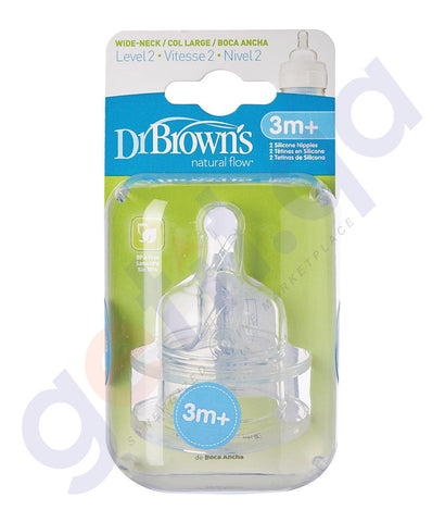 "BUY DR BROWN SILICONE WIDE-NECK ""OPTIONS"" NIPPLE, 2-PACK IN QATAR"