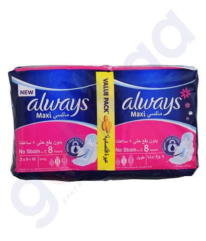 Buy Always Maxi Thick No Stain Long 18 Pads in Doha Qatar