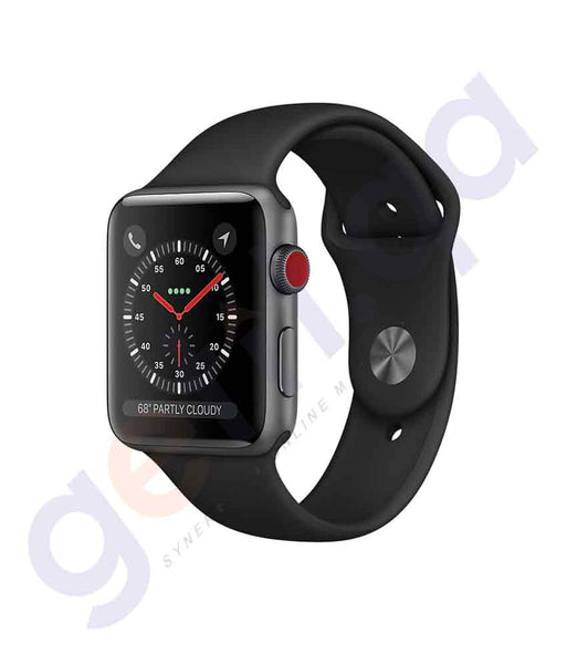 BUY APPLE SERIES 3-42MM SPACE GREY DIAL BLACK SPORT BAND- GPS-WATCH IN QATAR