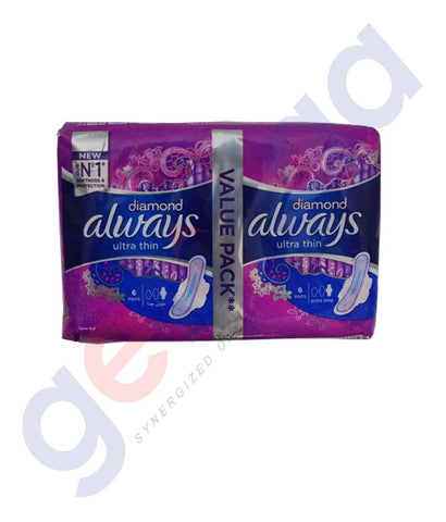 Buy Always Diamond Ultra Thin 6+6 Pads Price in Doha Qatar