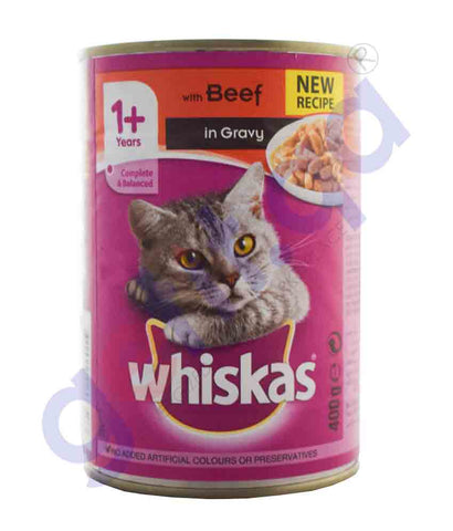 WHISKAS BEEF IN GRAVY 400GM