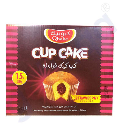 Buy Qbake Cup Cake Strawberry 15pcs 450g Online Doha Qatar