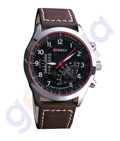 BUY CURREN LEATHER STRAP CASUAL MEN'S QUARTZ ANALOG WATCH- 8152 IN QATAR