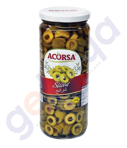 BUY BEST PRICED ACORSA OLIVES GREEN SLICED JAR 450GM IN QATAR
