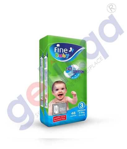 GETIT.QA | Buy Fine Baby Diaper Jumbo Pack Medium 48 Diapers Doha Qatar